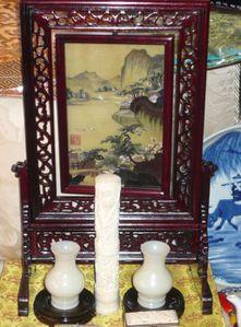 Bordado a dos caras, marfil y jade de China