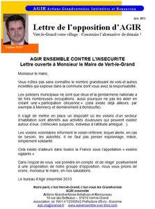 lettre ouverte au maire de Vert-le-Grand contre l'insecurit