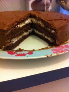 Interieur du gâteau tout choco