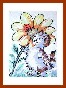 le chaton à la fleur