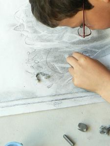 Fresque dessiné et peinte