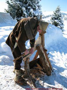 viking travaillant bois