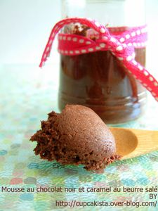 Mousse au chocolat noir et caramel au beurre salé-1