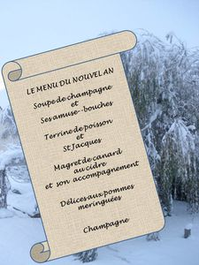 Le menu du nouvel an