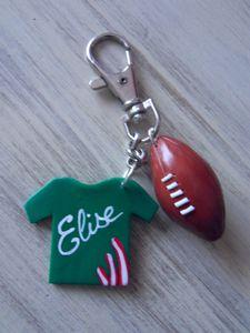 Porte clé thème rugby fimo plaque maillot st étienne verso ELISE