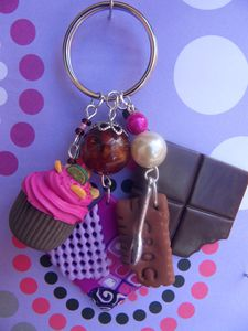 Porte clé fimo cupcake, chocolat biscuit plaque texturée Recto