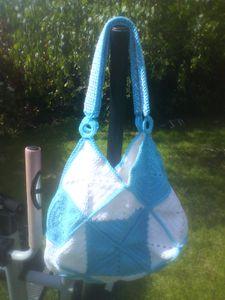 sac 22 carrés turquoise