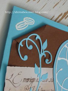 Carte mariage marron et turquoise coeur (3)