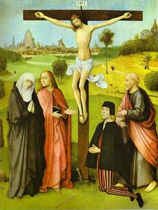 Hieronymus Bosch Christ on Cross with Donors and Saints