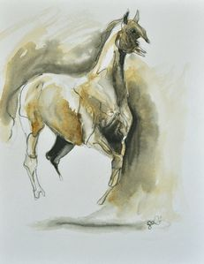 galop-aquarelle sur papier-24 x 32 cm