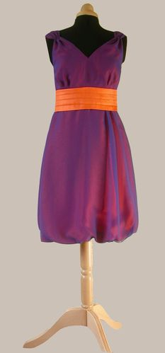 robe boule mousseline violet orange 1