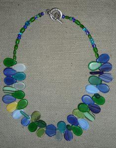 Perles de verre de Bohême du XVe siècle vertes et bleues