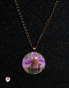 collier cabochon orchidée