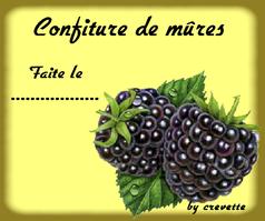Confiture de mûres - Etiquette (tag)