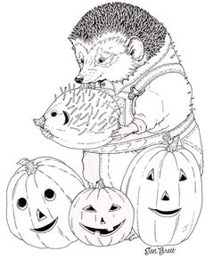 hedgie carves a pumpkin coloring page