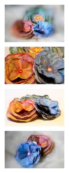 fleurs en papier journal coloré-copie-1