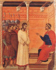 Jesus et Pilate de Duccio (détail)