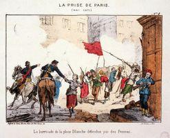 Lithographie - Auteur inconnu - Musée Carnavalet Paris - Image Wikipédia du Domaine public : La barricade de la place Blanche défendue par des femmes__ CLIQUER sur l'image pour l'agrandir.