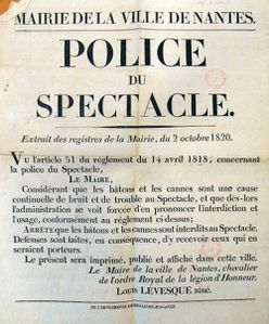 1820 Police du spectacle - interdiction de port du bâton,
