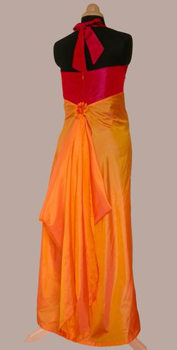 grossesse robe longue soie orange et taffetas 2