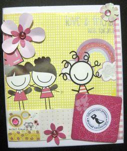 carte jaune fillette fleurs 3