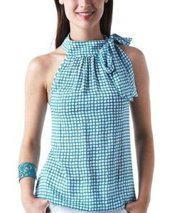 top-bouffant-a-col-lavalliere-imprime-turquoise-promod 24.9
