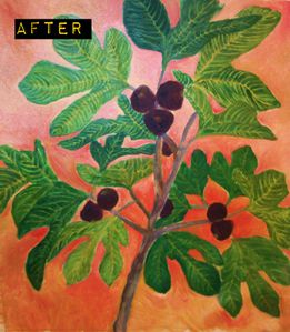 under the fig tree - colorful - final version after. Le blog peinture de Carole.