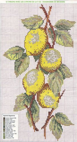 diagramme broderie : citrons