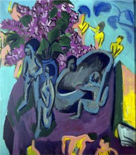122 BAIGNEUSE Kirchner 1912 still-life-with-sculpture Groni