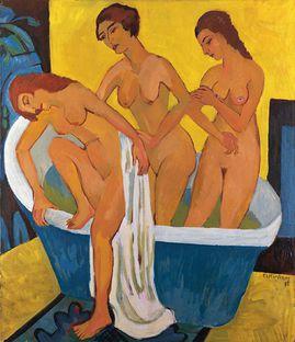 166 TOILETTE Kirchner 1915-25 Femmes au bain panneau centra