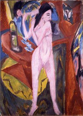 164 TOILETTE Kirchner 1913 Femme nue peignant ses cheveux B