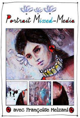 affiche atelier portrait mixed media