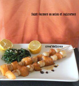 Saint-Jacques au melon et salicornes