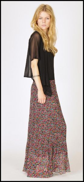 Cara Floral Pleated maxi skirt Liberty Boohoo