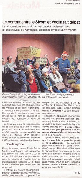 Ouest-France 18.12.14 Sivom Véolia