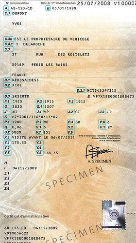 Fabien KOVAC Avocat / Carte grise type