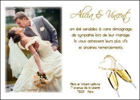 carte de remerciement mariage champagne magique - Carte Remerciement Mariage Original