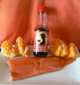 Saumon laqué à l'orange et riz sauvage