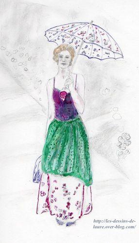 Jeune Femme Avec Une Ombrelle Dessin Au Crayon Et Quelques