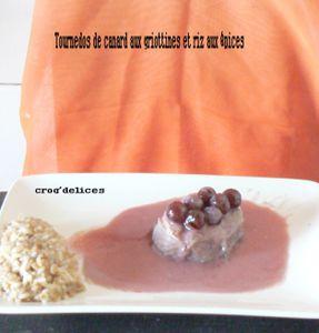 Tournedos de canard aux griottines et riz aux épices