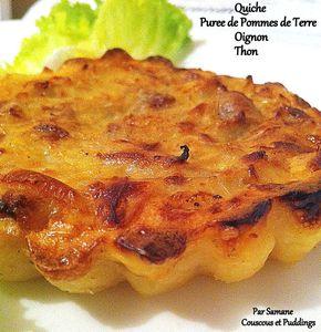 quiche oignon thon, puree de pommes de terre