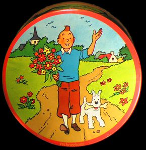 boite métal tintin Brochet sweets-Editions du Lombard metal sweet-box in 1965.