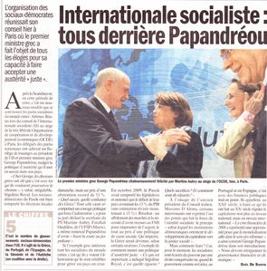 Internationale Socialiste L'Humanité 16 nov 2010