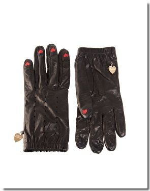 Gants &#xE0; doigts orn&#xE9;s de coeurs Moschino Cheap &amp; Chic : 184,82 &#x20AC;
