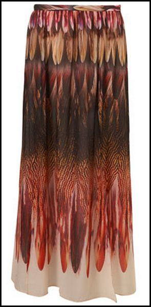Topshop Jupe longue imprim plumes feather