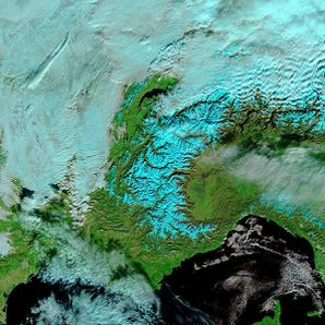 Terra - MODIS - Soleil - Grisaille - Alpes - Anticyclone -