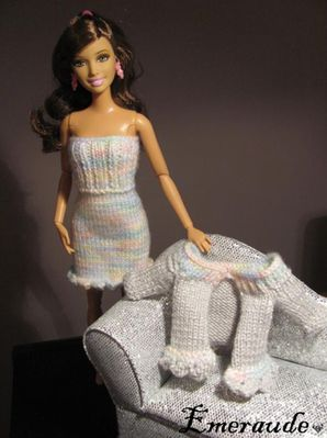 Tricot Barbie , ensemble robe gilet - 11.11.22 - 03
