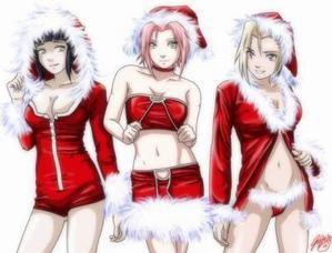 http://666-scantrad.over-blog.net/ Hinata, Sakura et Ino sexy noêl habillé en rouge.