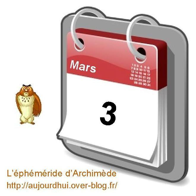 éphéméride 03 mars calendrier gratuit agenda jour dicton saint