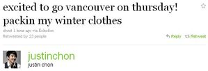 Justin Chon tweets abt Humans are back to Vancouver